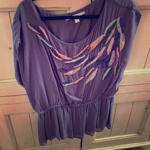 Lauren Conrad beaded purple blouse size XL.